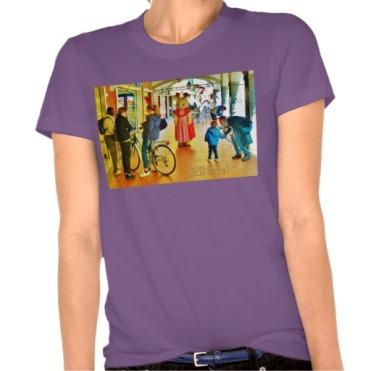 Lost Rabbit Roams Pisa Arcade, Women, American Apparel Organic T-Shirt, Front, Ultra Violet,