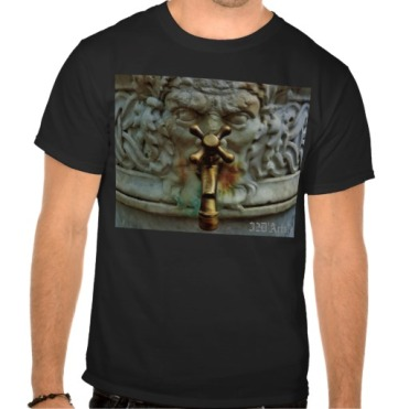 Lucca Spigot Face Fountain, Men, Basic Dark T-Shirt, Front