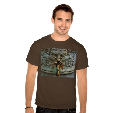 Lucca Spigot Face Fountain, Men, Basic Dark T-Shirt, Model, Front, Brown