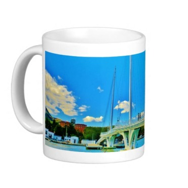 No Big Rush, La Spezia Harbor Suspension Bridge, Classic Mug, Left