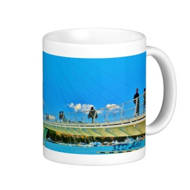 No Big Rush, La Spezia Harbor Suspension Bridge, Classic Mug, Right