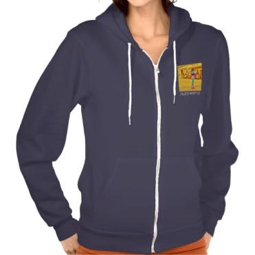 Pietrasanta Twist, Women, American Apparel Flex Fleece Zip Hoodie, Front, Navy
