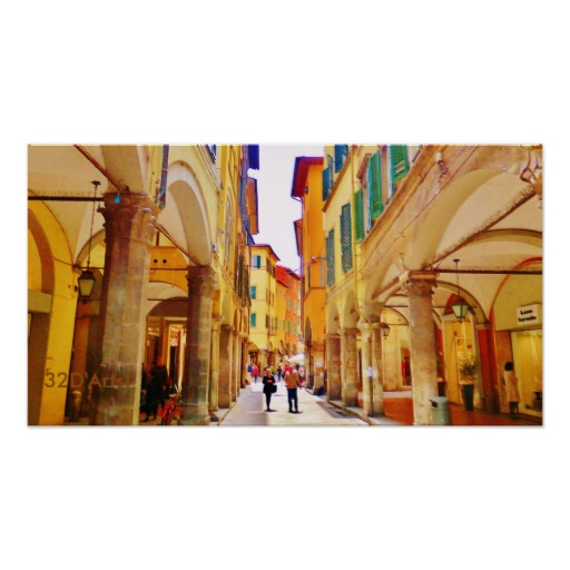 Pisa Arcade Stroll, Poster Print, 22 x 20