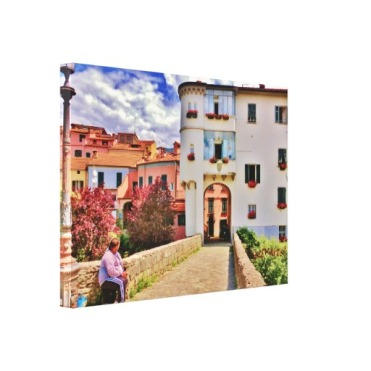 Pontremoli Bridge House Beggar, 25x18 Wrapped Print., left
