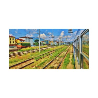 Pulling into Lucca, 24 x 12, Wrapped Canvas Print, center