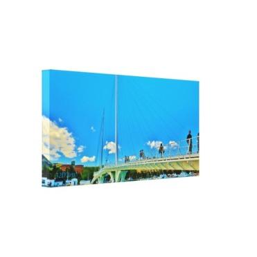 Sky Blue Bridge, 24 x 12, Wrapped Canvas Print, left