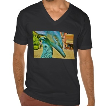 Soaring Dolphin Plaza Dolphin, Men, American Apparel Fine Jersey V-neck T-Shirt, Front, Black
