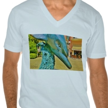Soaring Dolphin Plaza Dolphin, Men, American Apparel Fine Jersey V-neck T-Shirt, Front, Close-up, Light Blue