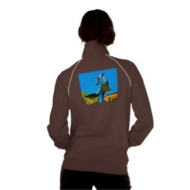 Soaring Dolphin Plaza, Women, American Apparel California Fleece Track Jacket, Back, Model, Brown