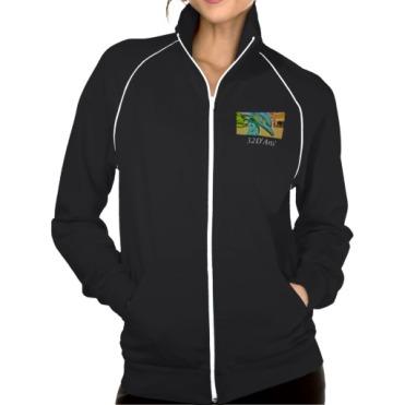 Soaring Dolphin Plaza, Women, American Apparel California Fleece Track Jacket, Black, Front
