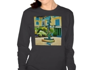 Soaring Dolphins, Forte dei Marmi Courtyard, Women, Fine Jersey, American Apparel, Black, Close-up, Zazzle
