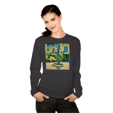 Soaring Dolphins, Forte dei Marmi Courtyard, Women, Fine Jersey, American Apparel, Black, Model, Zazzle