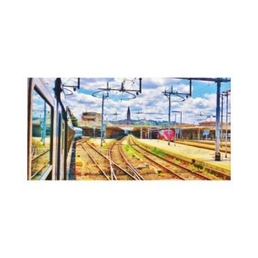 The Approach to Florence Station, 18 x 9,Wrapped Print Canvas Print, center
