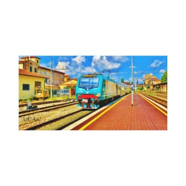 The Florence Train Pulls Into Lucca, Wrapped Print, 20 x 10, right