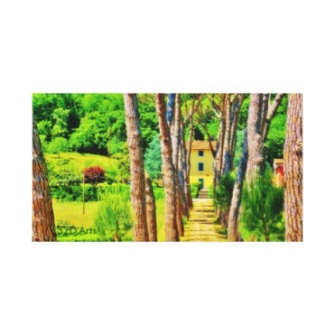 Tuscan Tree-lined Drive, Wrapped Canvas Print, 22 x 12, center