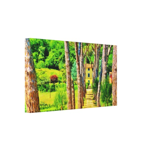 Tuscan Tree-lined Drive, Wrapped Canvas Print, 22 x 12, left