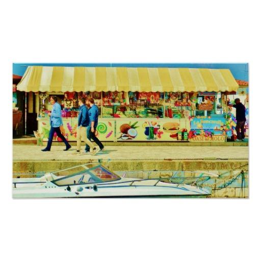 Viareggio Harbor Quayside Stall, Poster Print, 21 x 12
