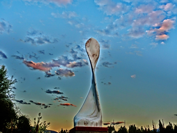 'Maypole', Curvilinear Colorado Yule Marble Sculpture by Martin Cooney