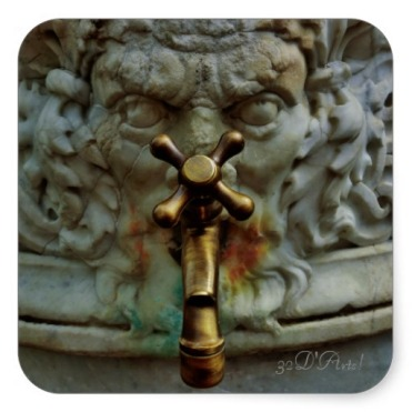 Lucca Fountain Spigot Face, Square Stickers,Glossy