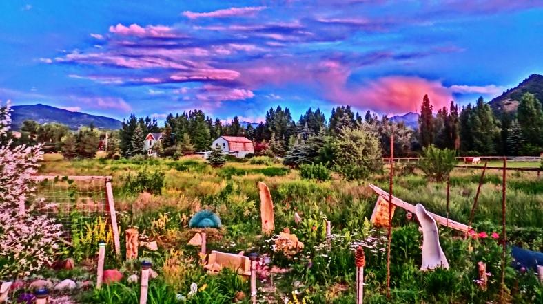 Birdhaven Studio Sculpture Garden Twilight, Woody Creek CO