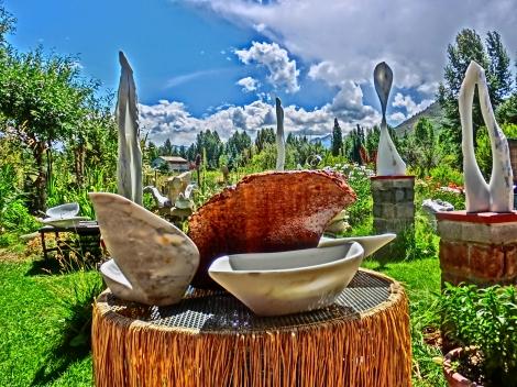 Clockwise: Wolf Man Jack, Maypole, Noah's Ark, Felucca. Bird Mountain Fountain, Center.