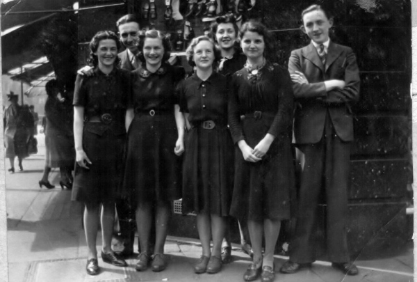 Shoe shop keepers during WWII, Ruth Cooney 2nd right