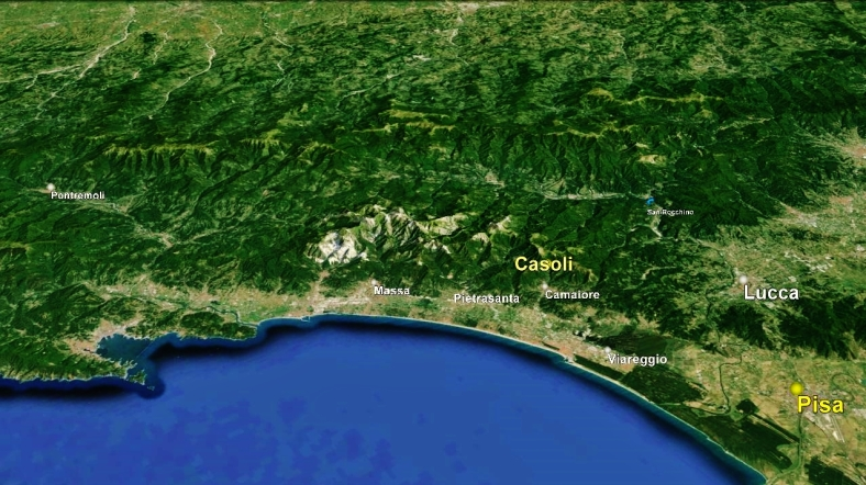 Pisa to Casoli by Google Earth. The North West Tuscan Tour at martincooney.com