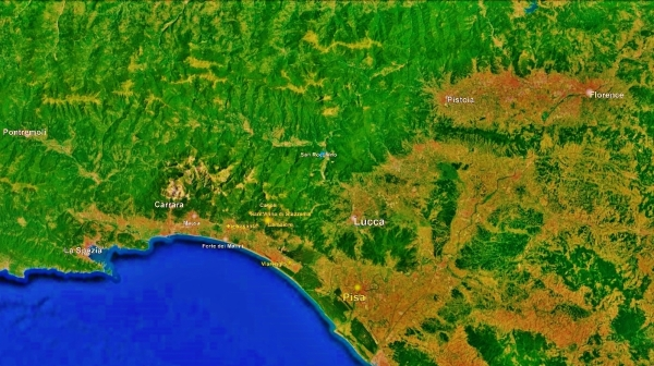 The North West Tuscan Way, Map 1 Pisa, Google Earth,