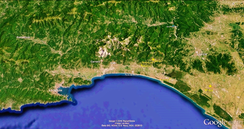 The North West Tuscan Way, Map 7 Pisa, Google Earth,
