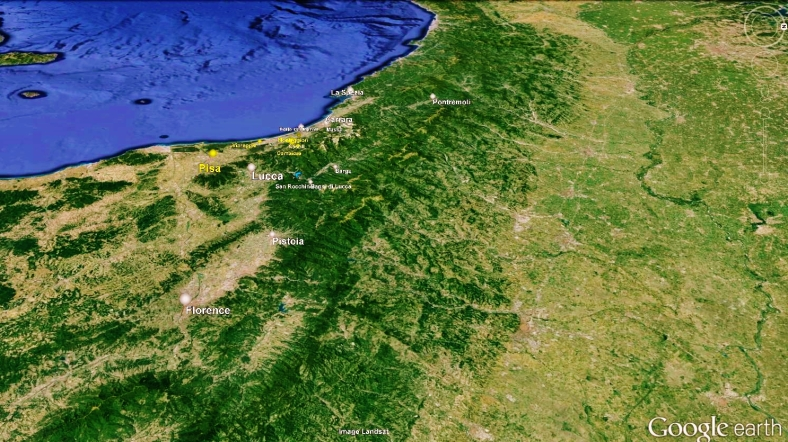 The North West Tuscan Way, Map 9 Pisa, Google Earth,
