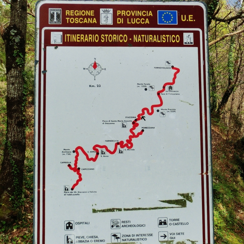Hiking map, On the Road to Forte dei Marmi Hostel, The North West Tuscan Way, by Martin Cooney