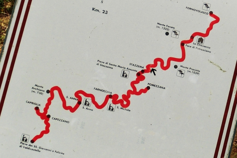 Hiking map detail, On the Road to Forte dei Marmi Hostel, The North West Tuscan Way, by Martin Cooney