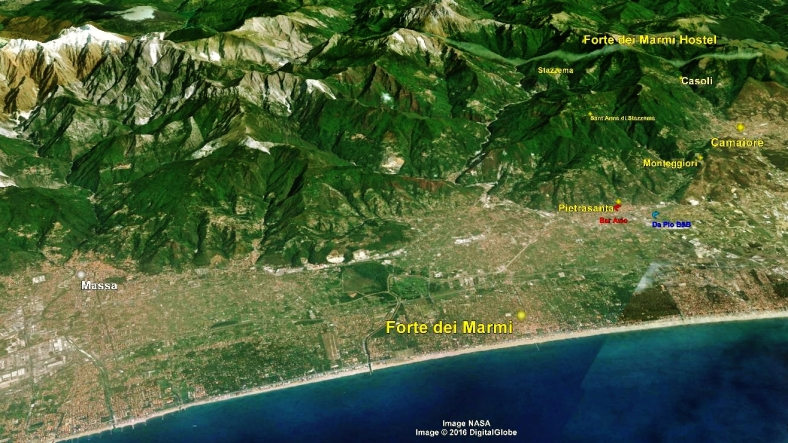 Forte dei Marmi Hostel, Map 2, Google Earth