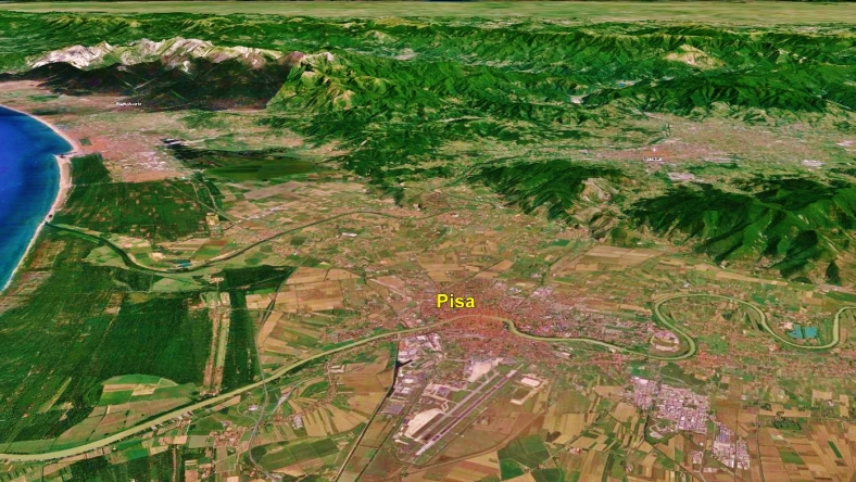 Pisa, from space, Google Earth.