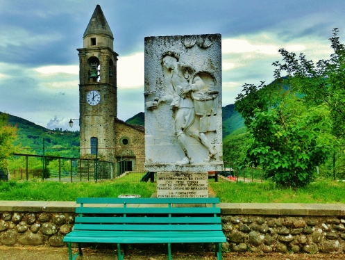 Bas relief marble sculpture, Montereggio, Lunigiana, on the North West Tuscan Way, Italy