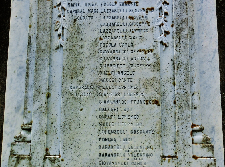 War memorial, Montereggio, Lunigiana, on the North West Tuscan Way, Italy