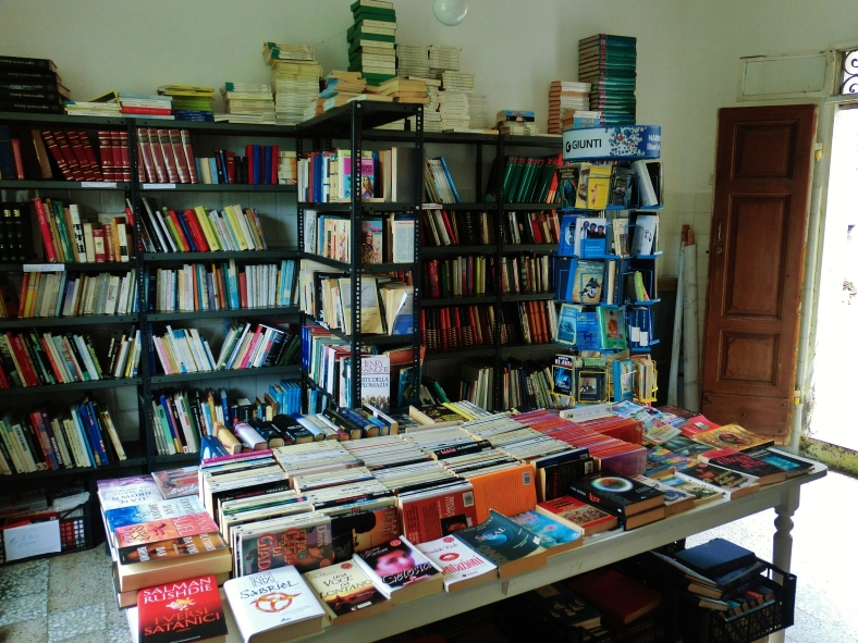 Unmanned bookstore, Montereggio, Lunigiana, on the North West Tuscan Way, Italy