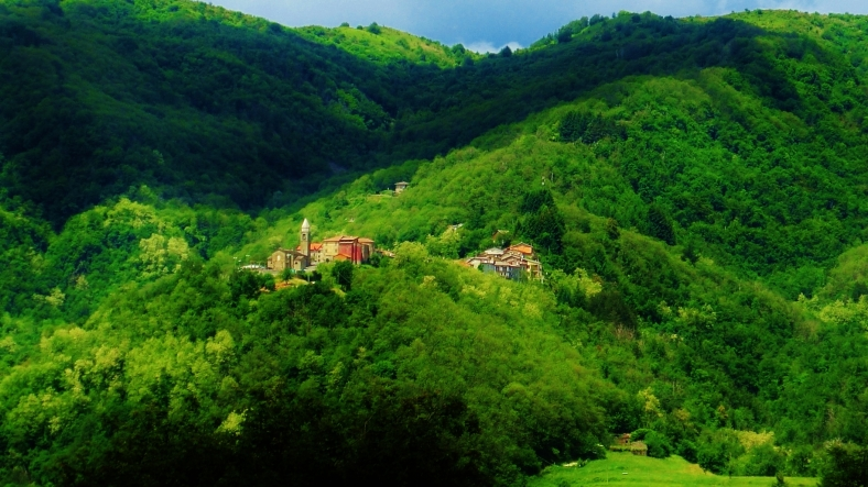 Panoramic view of Montereggio, Lunigiana, on the North West Tuscan Way, Italy