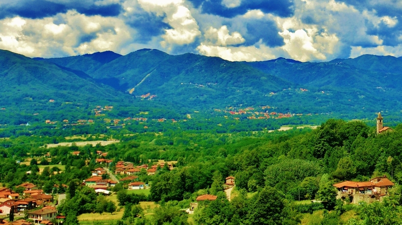 Across the valley towards Montereggio, Lunigiana, on the North West Tuscan Way, Italy