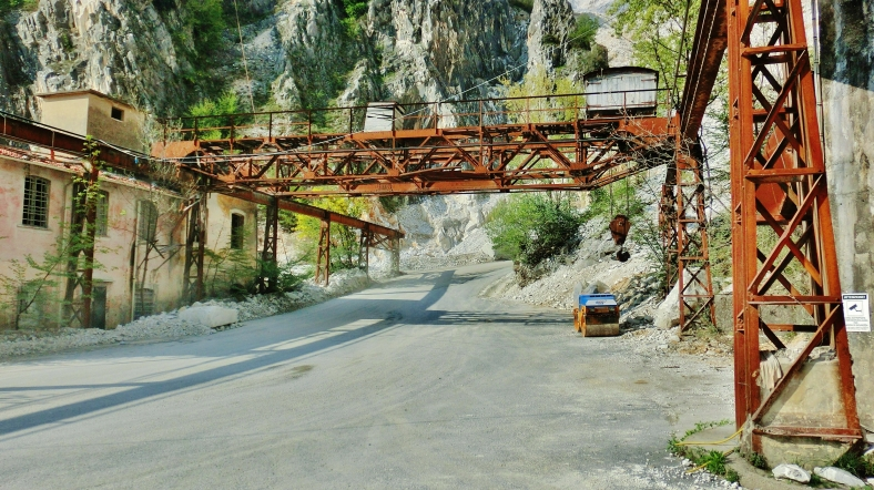 Earth Moving Trucks, Carrara Marble Quarries along the North West Tuscan Way
