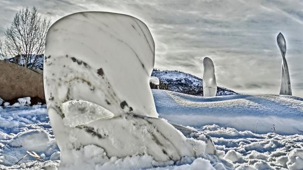 'Swan Wave', 'Pilgrim', 'Maypole', Snowscape. Feb 2016