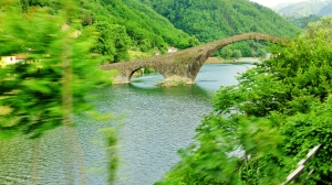 View from Train, Devil's Bridge, Borgo a Mozzano, Tuscany, Italy