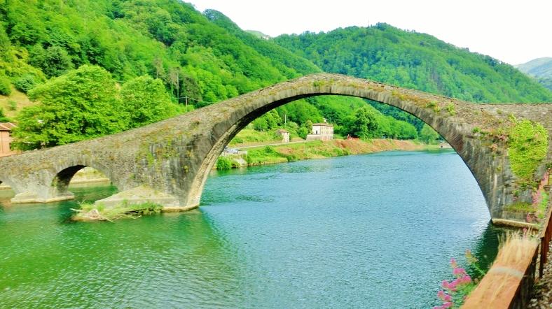 View from Train, Devil's Bridge, Borgo a Mozzano, Tuscany, Italy