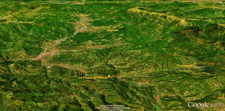 Bagnone to Fivizzano Map 3 Google Earth