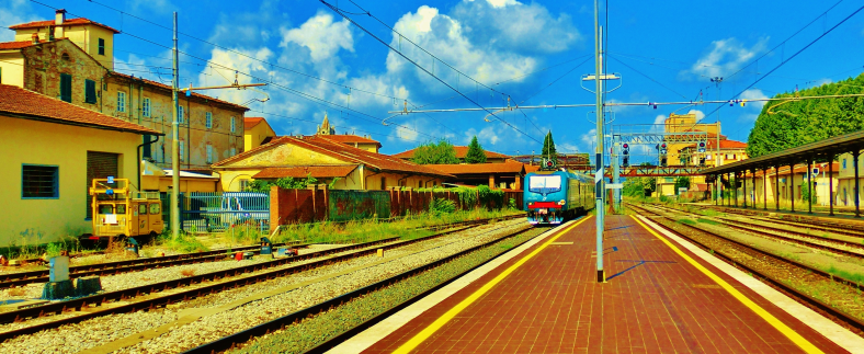Pulling into Lucca Railway Station, North West Tuscany