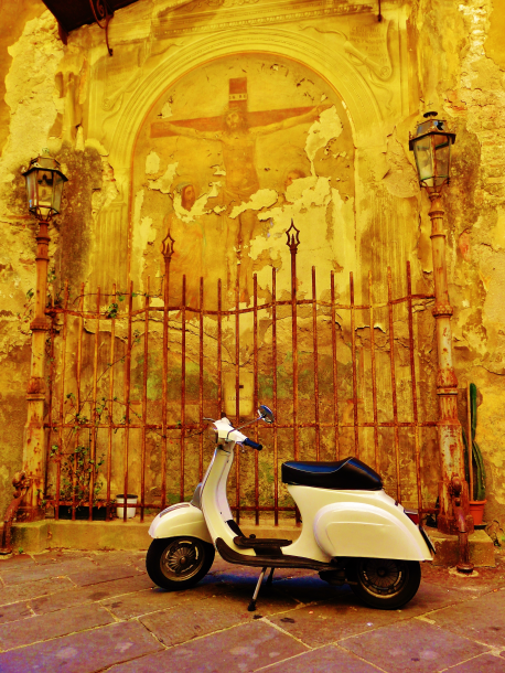 Parked Scooter, Gated Collection Box, Within the Walls of Lucca, Tuscany