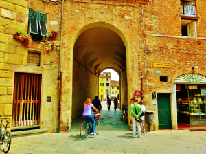 Bicycling The Oval Square, Within the Walls of Lucca, Tuscany