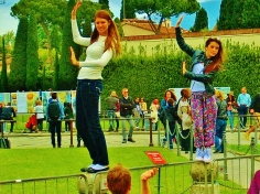 Happy Leaning Tower Posers,Pisa, Along The North West Tuscan Way by Martin Cooney
