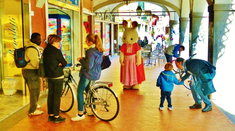Lost Rabbit Roams Pisa Arcade, Streetscape, Downtown Pisa, Along The North West Tuscan Way by Martin Cooney