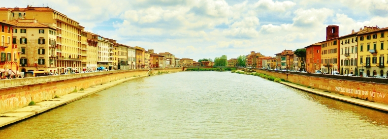 Arno River, Streetscape, Downtown Pisa, Along The North West Tuscan Way by Martin Cooney